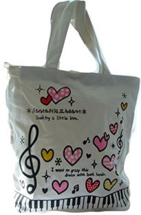 Music Themed Tote Bag Musical with Side Zip Pocket - Lots of Hearts & Treble Clef Design