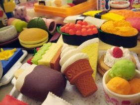 12 Assorted Iwako Japanese Wacky Style Erasers. Economy Brand. Packaging Will Vary. Cute Foods, Fast Foods, Zoo Animals, Kitchen Goods and Etc.