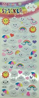 PartyErasers Kawaii Cute Foam Stickers - Clouds and Rainbow
