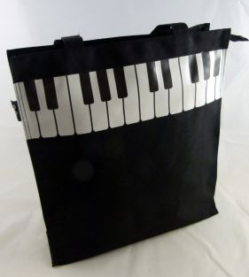 Music Themed Black Piano Key Design Zipper Hand Handle Tote Bag