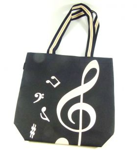 PartyErasers Black Treble Clef Music Design Tote Bag