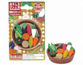 Iwako Mini Vegetable Japanese puzzle Erasers in Basket Blister Card  from Japan