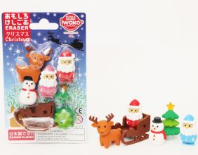 Iwako Chrismas Blister Card Santa Snowman Sleigh Deer Japanese Erasers from Japan
