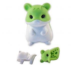 cute green hamster eraser from Japan by Iwako