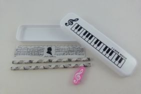 Music Themed Stationery – White Plastic Pencil Case with HB Pencils, Pink Eraser and Ruler