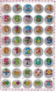 10 Sheets of Cute Fruit Dessert Numbers Glittered Stickers (400 stickers)