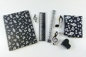 Music Themed Classic Black Music Staionery and Pouch Set