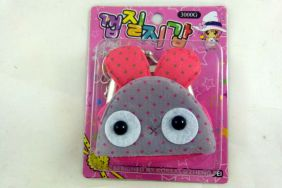 Kawaii Mini Zipper Pouch Coin Purse with Keyring - Grey/Red