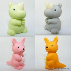 Iwako by Themes: 4pcs Wild Animals World Rhino, KangarooJapanese Erasers