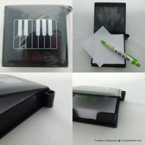 FunMusic Keyboard Design Music Theme Notepad Paper Box with Pen Holder