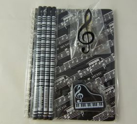 Music Themed Stationery Notebook Set - A5 Black Music Score Sheet Spiral Bound Notebook, Piano Eraser, Treble Clef Clip and 4 Musical Notes Pencils