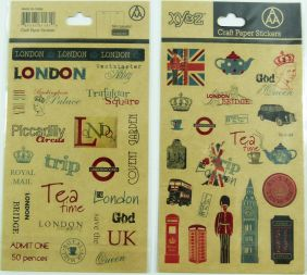 Craft Paper Stickers - London Landmark and icons (2 panels)