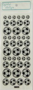 Crystal Stickers - 3 Sizes Black and White Footballs