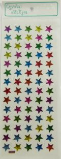 Crystal Stickers - 70 pieces Small Pink Blue Green Yellow and Purple Stars