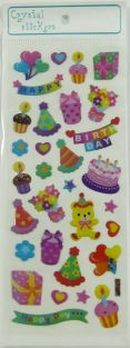Crystal Stickers - Small Colourful Happy birthday