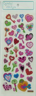 Crystal Stickers - Small Colourful Hearts and Keys