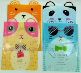 Cute Animal Ear Plastic Folder - Hamsters & Panda Bow (Pack of 4 pieces assorted designs)