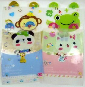 Cute Animal Ear Plastic Folder - Animals & music (Pack of 4 pieces assorted designs)