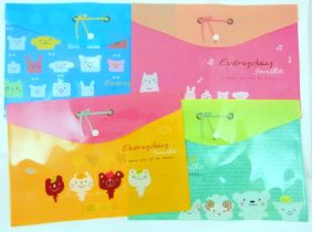 Cute Animal Ribbon Press Stud Document Envelope Wallet (Pack of 4 pieces - assorted designs)