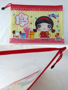 Cute Cartoon A4 Transparent/Mesh Zipper Filling Bag/Organizer/School/Work (Happy Girl)