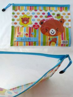 Cute Cartoon A4 Transparent/Mesh Zipper Filling Bag/Organizer/School/Work (Party Bear)