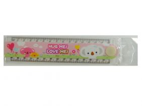 Cute Cartoon Transparent Foldable 30cm Ruler with Drawing Shapes -  Hug Me! Love Me!