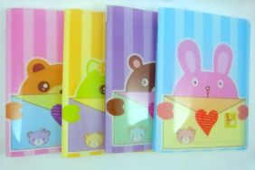 Cute Envelope Animal 20 pockets Lightweight A4 Display Book File Folder (Pack of 4 pieces assorted designs)