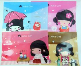 Cute Japanese Girls Press Stud Document Envelope wallet (Pack of 4 pieces - assorted designs)