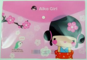 Cute Japanese Girls Press Stud Document Envelope wallet (Sakura)