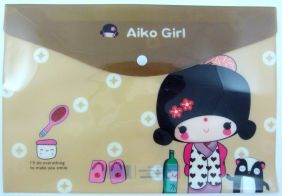 Cute Japanese Girls Press Stud Document Envelope wallet (Spa)