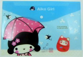 Cute Japanese Girls Press Stud Document Envelope wallet (Umbrella)