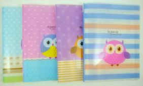 Cute Owl 20 pockets Lightweight A4 Display Book File Folder (Pack of 4 pieces assorted designs)