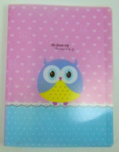 Cute Owl 20 pockets Lightweight A4 Display Book File Folder(Pink Hearts)