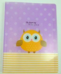 Cute Owl 20 pockets Lightweight A4 Display Book File Folder (Purple Dots)
