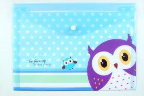 Cute Owl Press Stud Document Envelope wallet Folder - Blue