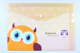 Cute Owl Press Stud Document Envelope wallet Folder - Orange
