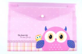 Cute Owl Press Stud Document Envelope wallet Folder - Pink