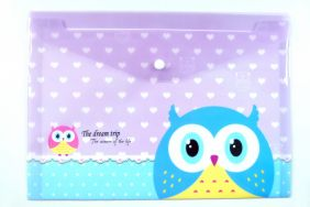 Cute Owl Press Stud Document Envelope wallet Folder - Purple