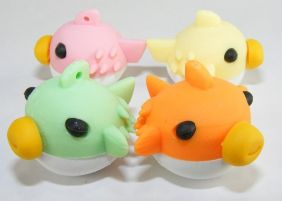 Dream 4 Colours Puffy Fish Japanese Erasers (4 Pieces - Colour May be different from image!)