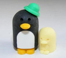 Dream penguin family Parent Child black Japanese Erasers (Colour may be different from image!)