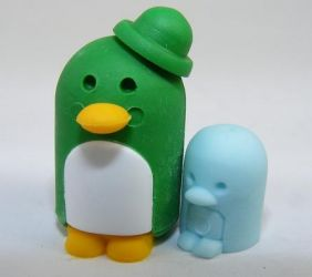 Dream penguin family Parent Child green Japanese Erasers (Colour may be different from image!)