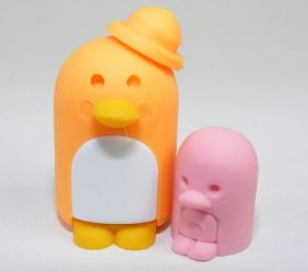 Dream penguin family Parent Child orange Japanese Erasers (Colour may be different from image!)