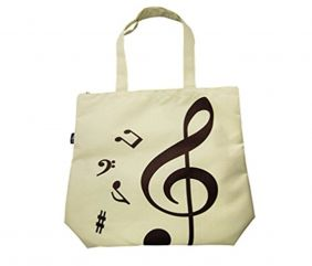 PartyErasers Music Themed Beige Tote Bag (Treble Clef)