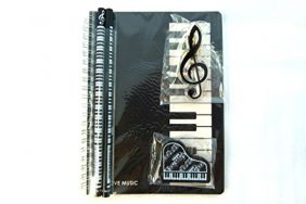 Music Themed Stationery Notebook Set - Black Piano Keys Spiral Bound Notebook, Piano Eraser, Treble Clef Clip and 2 Musical Notes Pencils