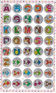 10 Cute Cartoon Alphabet Letters and Arrow Glittered Stickers (400 stickers)