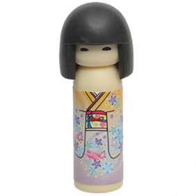 Iwako Kokeshi Japanese Doll in Yellow Purple Kimono Pattern Eraser