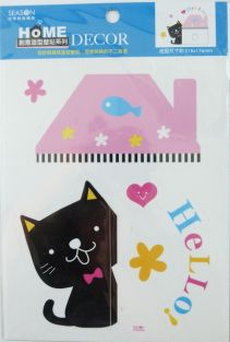 PartyErasers Light Switch Wall Stickers - Piano Cat