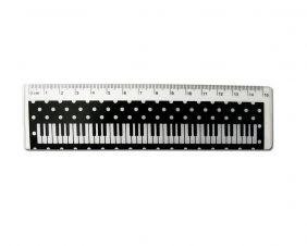Music Themed Transparent and Black 15cm Keyboard Design with Spots Ruler