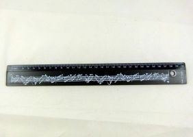 Music Themed Black Musical Notes Design 30cm Ruler with handling hole