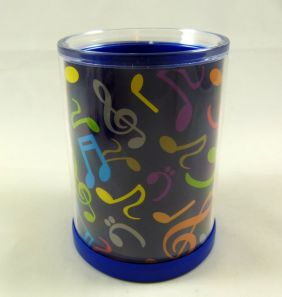 Music Themed Transparent Inner Layer Black Colourful Musical Notes Design Round Pen Holder